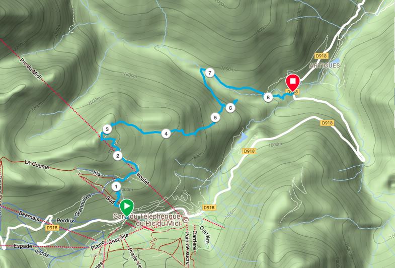 L'itinéraire du jour enregistré par la Garmin Fenix 5